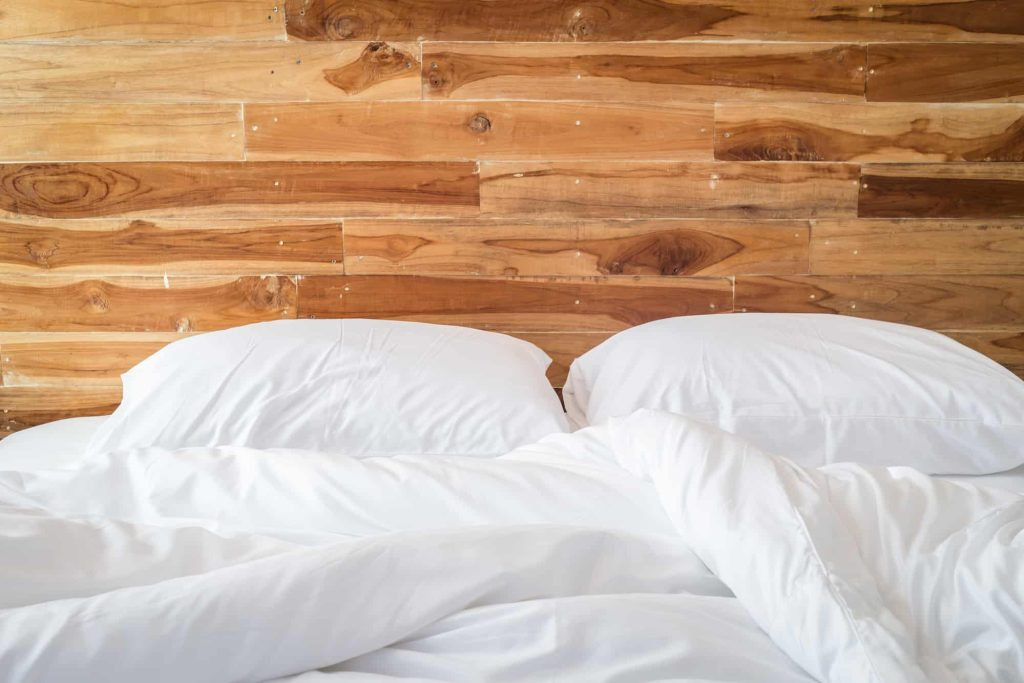 White bedding sheets and pillow, Messy bed concept
